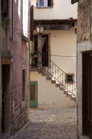 Mediterranean stone street of Rovinj, Croatia photo