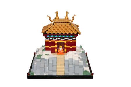 Buddhist monastery made of lego blocks photo
