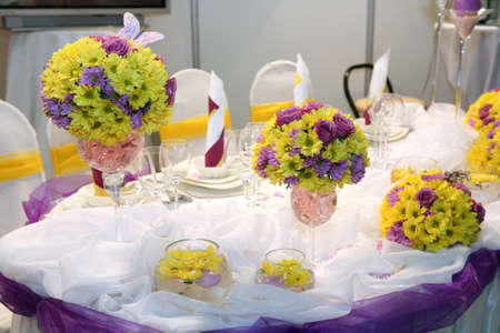 Elegant table set for a wedding dinner Stock Photo
