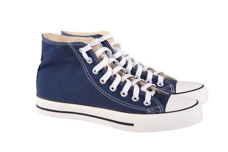 Pair of new blue sneakers on white background Stock Photo