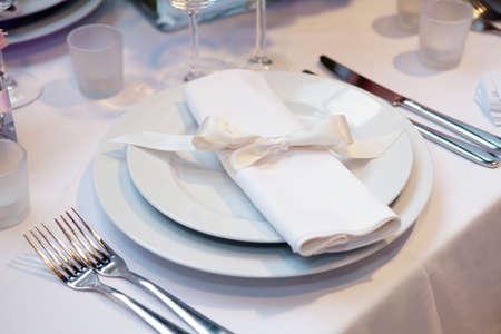 dine: Elegant table set for a wedding dinner Stock Photo