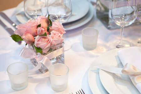 Detail of a wedding dinner setting photo