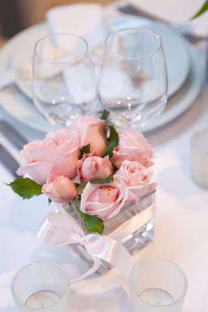 wedding table decor: Detail of a wedding dinner setting