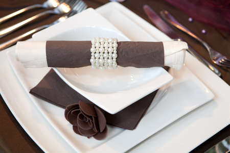 Wedding dinner detail in white and brown Stock Photo