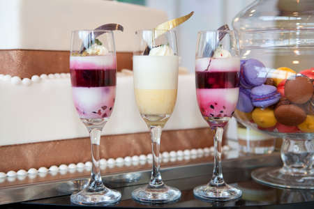Cocktail Glasses with a Trio of Sorbets photo