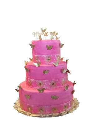 mr: Pink wedding cake with butterflies isolated on white