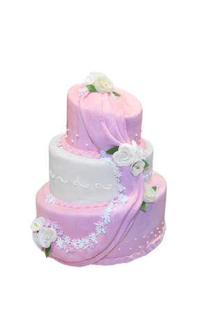 Elegant wedding cake isolated on white photo