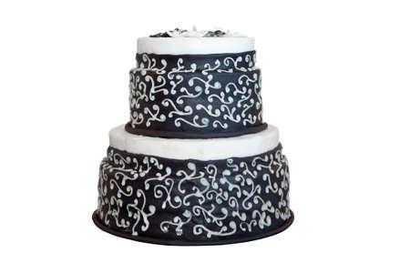 cake tier: Elegant black and white wedding cake, isolated on white