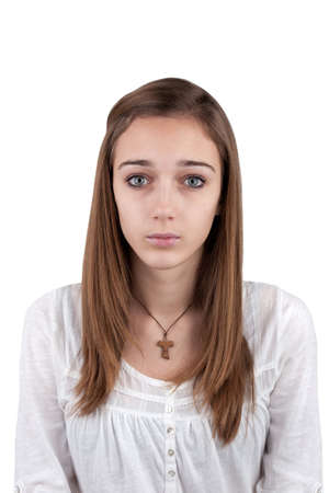 Portrait of a young teenage girl - photo for the ID photo