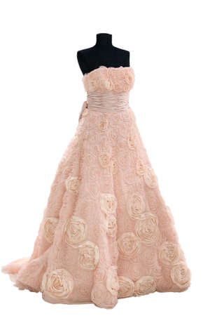 tulle: Weddings dress on a mannequin isolated on white Stock Photo