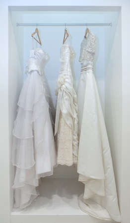 fancy dress: Collection of wedding dresses in the shop