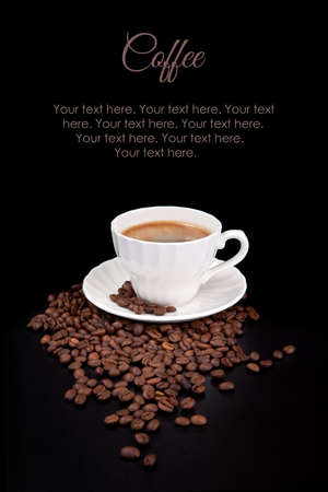 White cup with hot liquid on black with sample text above photo