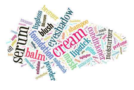 eyeliner: Beauty products word cloud Stock Photo
