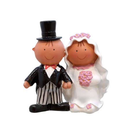 A wedding couple - figurines for wedding cake, isolated on white background photo