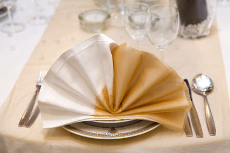 Elegant wedding dinner in beige photo