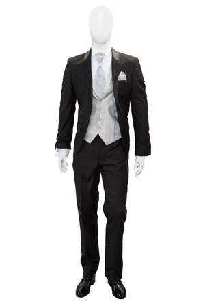 Business dark grey suite on mannequin isolated on white  photo