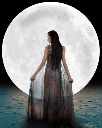 long night: Ice fairy walking into the moon  Lighter version  Stock Photo