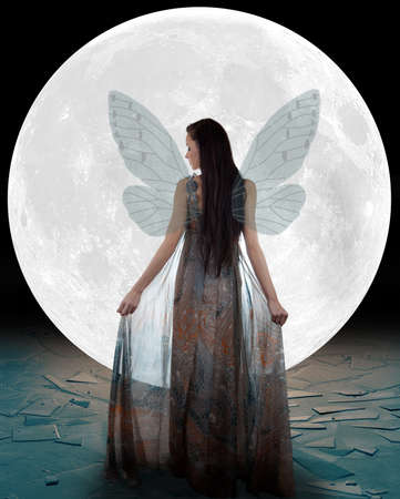 Ice fairy walking into the moon photo