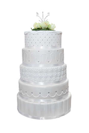 tiered: Wedding cake decorated with diamonds and flowers, isolated on white  Stock Photo