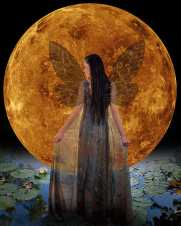 Water fairy in front of a Venus  Elements photo