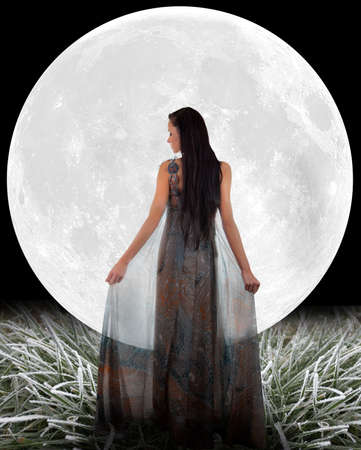 victorian lady: Fairy in front of a Moon