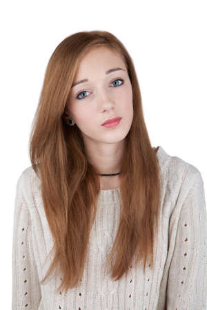 Teenage girl with red hair isolated on white photo