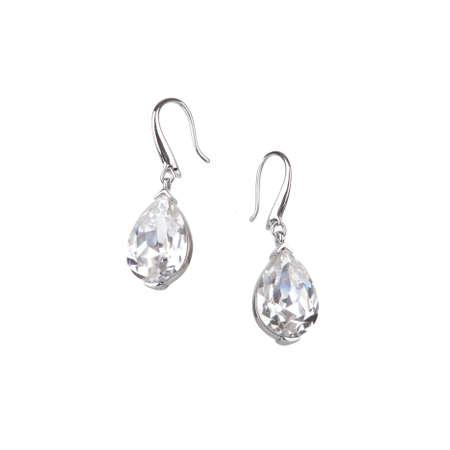 earrings: Pair of diamond earrings, isolated on white