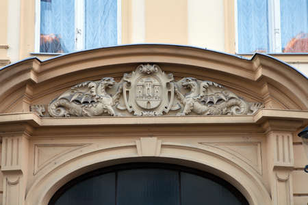 upper arm: Historical coat of arms of the City of Zagreb over the front door of the old City Hall Stock Photo
