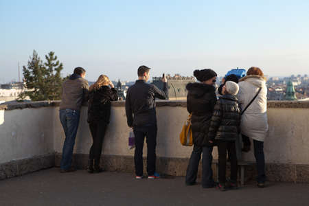 ZAGREB, CROATIA – JANUARY 12, 2014: Tourists at the upper town of Zagreb, capital of Croatia.