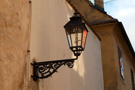 Old gas lamp on the wall in Zagreb, Croatia photo