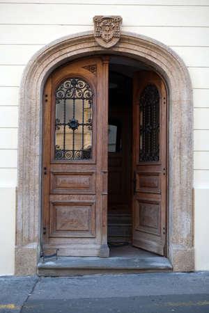 entry: Old wooden door in Upper Town of Zagreb, Croatia