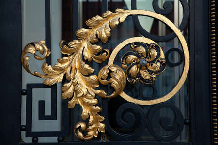 Golden ornament on the Croatian Parliament door in Zagreb, Croatia  The current building dates from the beginning of the 20th century