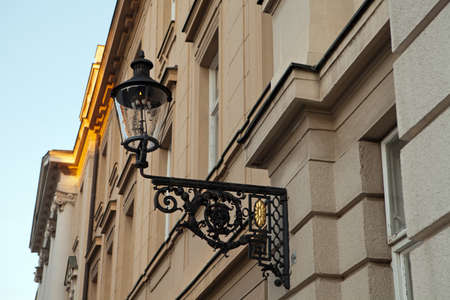 Gas lamp on the Croatian Parliament building in Zagreb, Croatia