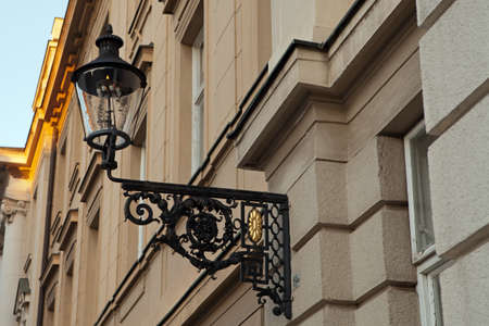 Gas lamp on the Croatian Parliament building in Zagreb, Croatia  photo