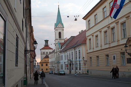 Cirilometodska street that leads to famous St Mark s Church and Lotrscak Tower at sunset