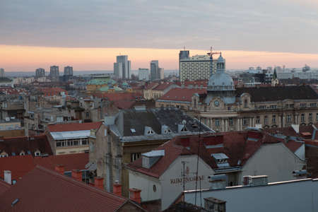 zagreb: Capital of Croatia-city of Zagreb, historic lower town architecture rooftops at sunset