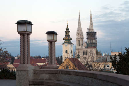 zagreb: View from the Strossmayer Promenade towards Kaptol, the cathedral, St Mary s Church and the rooftops of Dolac Market