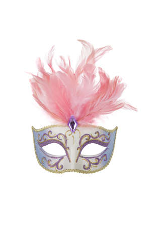 Beautiful carnival mask with pink feathers, isolated on white photo
