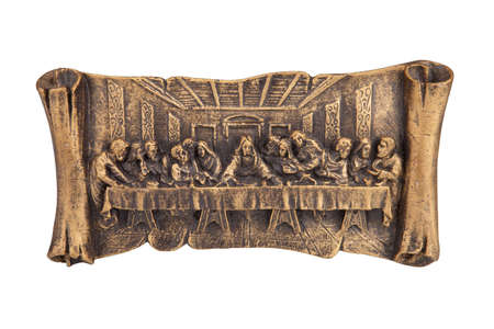 last supper: Last supper of Christ relief, isolated on white Stock Photo