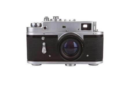 reflex: Old manual camera on white Stock Photo