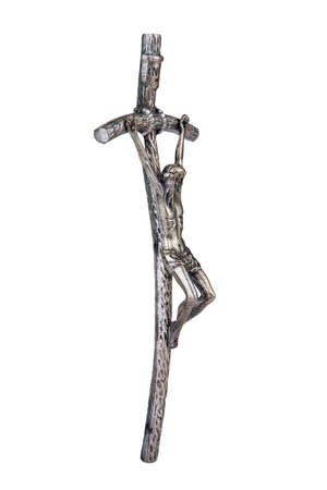 crucifix: The Bent Cross Crucifix, that was using Pope John Paul II, side view Stock Photo