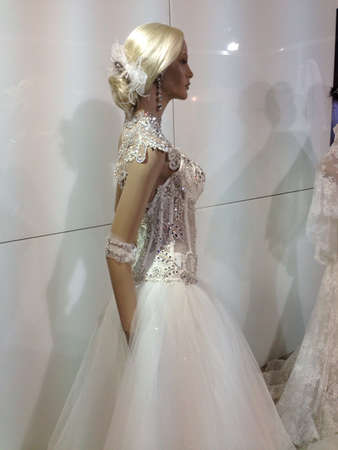 manequin: Manequin in a wedding dress with tinsel and rhinestones
