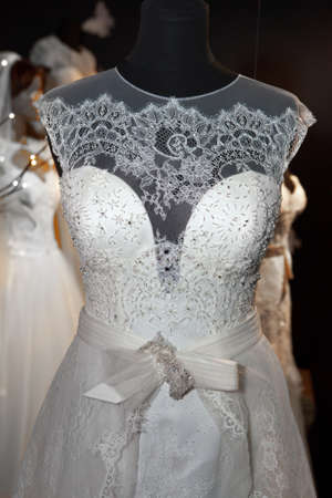 transparent dress: Wedding dress made of lace on a mannequin