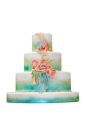 Marzipan wedding cake isolated on white photo