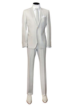 tailored: Beige suite on mannequin isolated on white