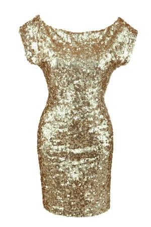 Golden sequin dress isolated on white
