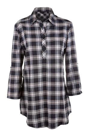 tunic: Plaid female shirt isolated on white