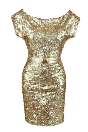 sequin: Golden sequin dress with golden belt, isolated on white