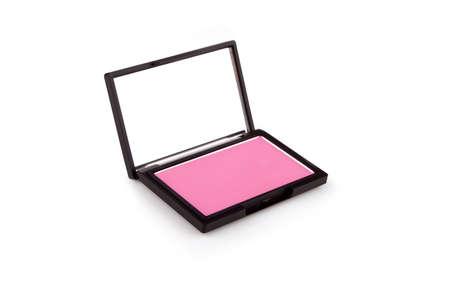 Pink blush isolated on white photo