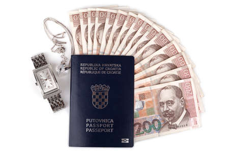 valuables: Croatian passport with valuables, isolated on white